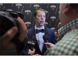 Brad Keselowski is interviewed as he arrives at Wynn Las Vegas