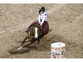 Sydni Blanchard from Albuquerque, New Mexico, competes in barrel racing