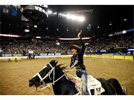 Tillar Murray from Fort Worth, Texas, during the seventh go-round of the National Finals Rodeo