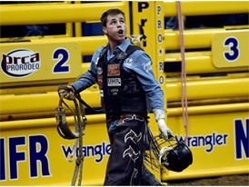 Ty Wallace from Collbran, Colorado, after competing in bull riding during the seventh go-round of the National Finals Ro