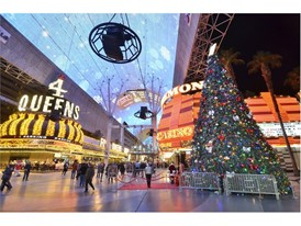 A Christmas tree is shown on Fremont Street in downtown Las Vegas