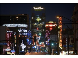 The lights of the Fremont Street Experience and Fremont East district