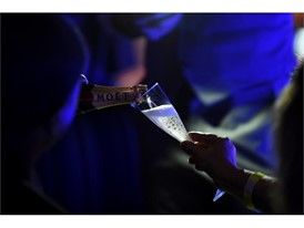 Champagne is poured just before midnight as revelers ring in the new year on top of the Rio