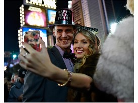 Spencer Gugino and Lillea Prins of Michigan take a selfie as they celebrate New Year's Eve