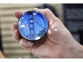 A Cinema Snowglobe showing video of the Golden Gate Bridge is displayed during the first day of CES