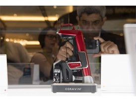 A wine preserving device from Corvine is seen on display during the first day of CES