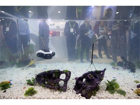 An underwater drone is demonstrated during the first day of CES
