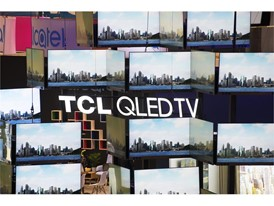 A wall of televisions from TCL is seen during the second day of CES