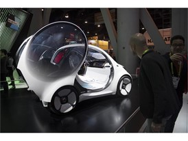 An electric, autonomous Mercedes smart car concept vehicle is seen during the second day of CES