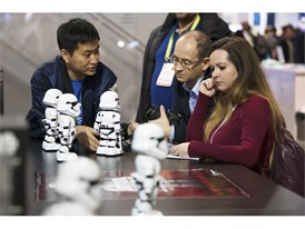 Wilson Chen from Ubtech demonstrates robotic New Order Stormtroopers from the most recent Star Wars