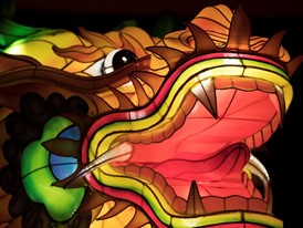 A detail photo of a dragon is seen on the opening night of the China Lights lantern festival