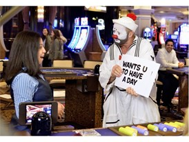 "Blackjack dealer is surprised with time off by clown from ""O"" by Cirque du Soleil"
