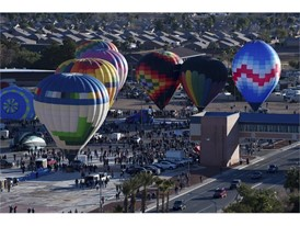 Balloons lift off during the Mesquite Hot Air Balloon Festival