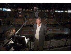 Las Vegas Aces Head coach Bill Laimbeer gives an interview