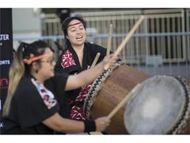 Taiko drummers Jennifer Caballero and Janeen Nanbu