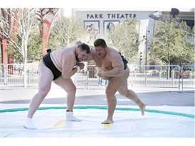 Dan Kalbfleisch, right, and Soslan Gagloev put on a sumo demonstration