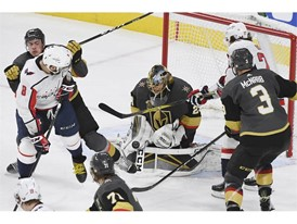 Vegas Golden Knights goalie Marc-Andre Fleury (29) makes a stop against the Washington Capitals