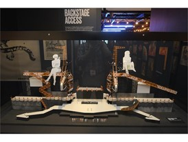 """A model of the enormous set from the Steel Wheels tour is seen at the Rolling Stones """"Exhibitionism"""""""
