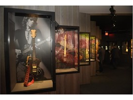 "A collection of guitars is seen at the Rolling Stones ""Exhibitionism"""