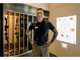 Trainer Jared Hermann at the Mob Museum's Use of Force Training Experience