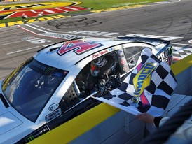 Winner Monster Energy NASCAR Cup Series driver Kevin Harvick (4) takes the checkered flag
