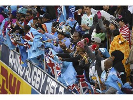 Fiji fans celebrate a try during their match against New Zealand at the USA Sevens Rugby tournament