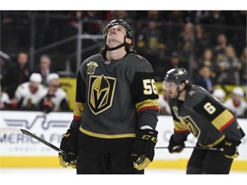 Vegas Golden Knights left wing Erik Haula (56) reacts after his last-second shot against the Ottawa Senators