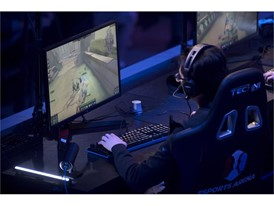 Competitors from Spacestation team take on eUnited in the game SMITE during the grand opening of Esports Arena Las Vegas
