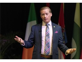 """Adam Coughran, president of Safe Kids, Inc., leads a presentation, """"Crimes, Crisis and the Media"""""""
