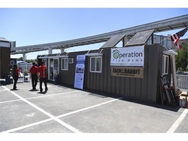 An Operation Tiny Home unit is seen on display during the National Hardware Show