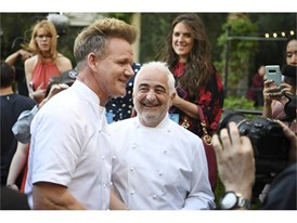 Chefs Gordon Ramsay and Guy Savoy are interviewed during the Grand Tasting