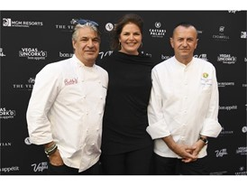 Chef Kim Canteenwalla, Elizabeth Blau and Chef Olivier Dubreuil pose on the red carpet during the Grand Tasting