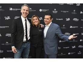 Adam Rapoport, Lorena Garcia and Buddy Valastro pose on the red carpet  during the Grand Tasting