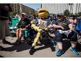 Vegas Golden Knights mascot Chance takes a break during a Game 5