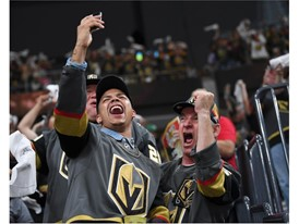 Vegas Golden Knights fans cheer after they scored a goal against the Winnipeg Jets