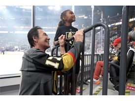 Wayne Newton poses for a photo with a young Vegas Golden Knights