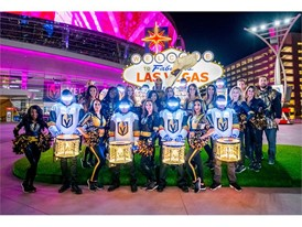 The Vegas Golden Knights Drumbots drumline and cheerleaders