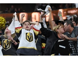 Vegas Golden Knights fans cheer after a goal against the San Jose Sharks