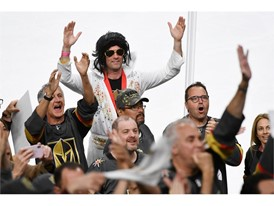 A Vegas Golden Knights fan dressed as Elvis