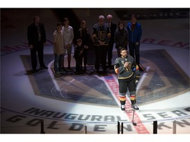 Vegas Golden Knights defenseman Deryk Engelland addresses the crowd before the Knights home opener