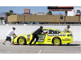 Ryan Blaney's No. 12 Team Penske Ford is moved into position in preparation for the 2018 NASCAR Burnout Blvd