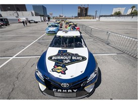 Cars are lined up for the 2018 NASCAR Burnout Blvd