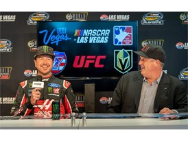 NASCAR champion Kurt Busch and  Derek Stevens of The D Las Vegas and the Downtown Events Center