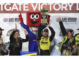 Grant Enfinger (98) celebrates his victory in the NASCAR Camping World Truck Series World of Westgate 200