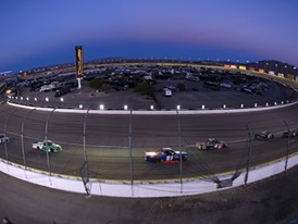 The field makes its way through turn one during the NASCAR Camping World Truck Series World of Westgate 200