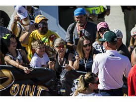 NASCAR fans wait for autographs from #14 Clint Bowyer