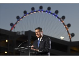 Nevada Governor Brian Sandoval speaks during the ceremonial ground breaking for the MSG Sphere at the Venetian