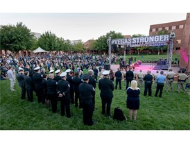 Attendees surround the stage for the 1 October Sunrise Remembrance