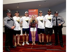 Survivor Lauren Harp with NHP and Vegas Golden Knights Cody Eakin, Erik Haula, Deryk Engelland