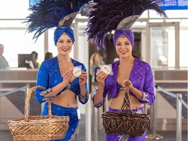 LVCVA Brand Ambassadors welcome Flair Airlines inaugural flight from Edmonton